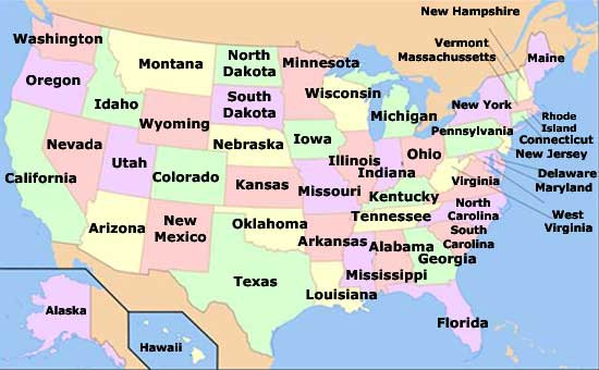 map of 50 states and capitals