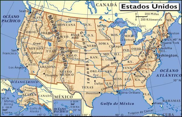 Resultado de imagen de Mapa físico de estados Unidos