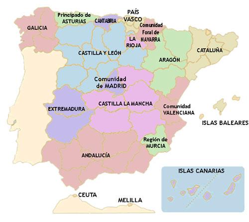 Mapa de las Autonomías de España