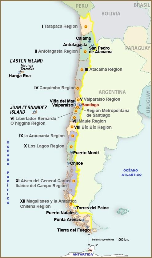 Aprende las regiones y las provincias de chile elabueloeduca mapa de chile sciox Choice Image
