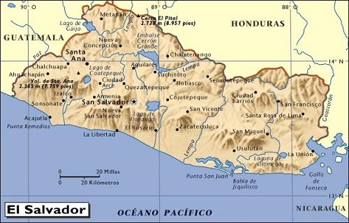 El Salvador Departamentos Capitales Y Distritos